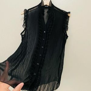 APT. 9 Black All Over Sheer Victorian Style Blouse
